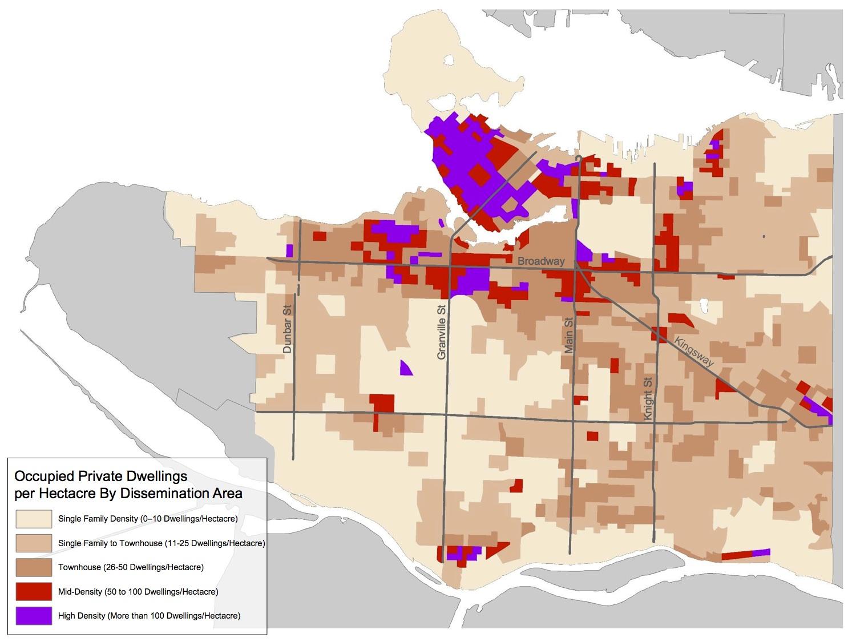 用地住宅密度较低,所以很少有人住在那里. 而在其他低密度区域的